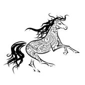 Horse sketch with floral ornament for your design. Symbol of 2014 year — Stock Vector