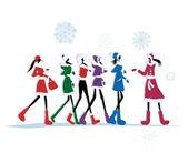 Girls in winter coats for your design — Stock Vector