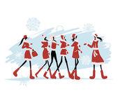 Santa girls for your design — Stock Vector
