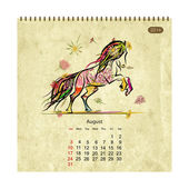 Calendar 2014, august. Art horses for your design — Stock Vector
