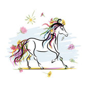 Horse sketch with floral decoration for your design. Symbol of 2014 year — Stock Vector