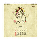 Calendar 2014, march. Art horses for your design — Stock Vector