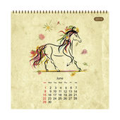 Calendar 2014, june. Art horses for your design — Stock Vector