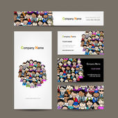 Business cards collection, people crowd design — Stock vektor