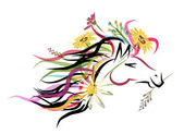 Horse head sketch with floral decoration. Symbol of 2014 year — Stock Vector