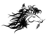 Horse floral head for your design. Symbol of 2014 year — Stock Vector