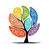 Art tree design with 7petal days of week — Stock Vector