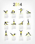 Jóga kalendář 2014 pro návrh — Stock vektor