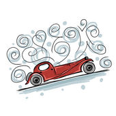 Retro old car sketch for your design — Stock Vector