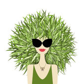 Female face with green grass hairstyle for your design — ストックベクタ