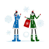 Girls in winter coat with shopping bag for your design — Stock Vector