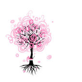 Abstract pink tree with roots for your design — Vettoriale Stock