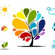 Rainbow tree with weather signs for your design — Stock Vector
