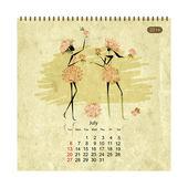 Girls retro calendar 2014 for your design — Stok Vektör