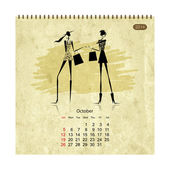Girls retro calendar 2014 for your design — Vector de stock