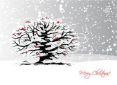 Design de cartão de Natal com árvore de inverno e bullfinches — Vetor de Stock