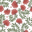 Rowan branch with berries, seamless pattern for your design — Stock Vector
