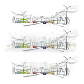 Sketch of traffic road in city for your design — Stock Vector