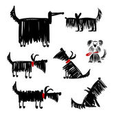 Funny black dogs collection for your design — Stock Vector