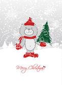 Christmas card design with funny bear — Vector de stock