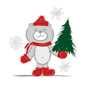 Funny santa bear with christmas tree for your design — Stock Vector