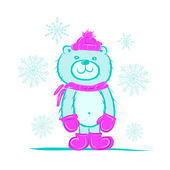смешной санта медведь для вашего дизайна — Cтоковый вектор