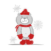 Funny santa bear for your design — Stock Vector