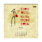 Girls retro calendar 2014 for your design, february — Stock Vector