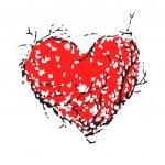 corazón San Valentín rojo hecho de árboles de sakura para su diseño — Vector de stock  #38771095