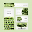 Stock Vector: Set of cards, green tree made from floral pots