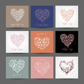 Set of valentine cards with hearts for your design — Stock Vector