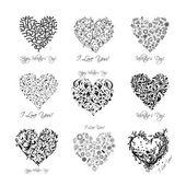 Conjunto de corazones de San Valentín para su diseño — Vector de stock