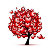 Love tree design with red hearts for valentine day — Vettoriale Stock