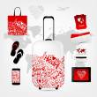 Romantic travel suitcase with set of trip things — Stock Vector