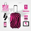 Travel suitcase with set of icons, pink zebra style — Stock Vector #38953505