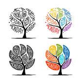 Art tree design with 7 petal days of week — Stock Vector