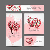 Set of valentine cards design with sakura trees — Stock Vector