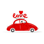 Love red car for your design — Stock Vector