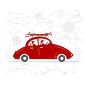 Family traveling by red car with skis — Stock Vector