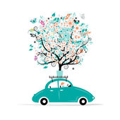 Floral tree on the car roof — Stock Vector