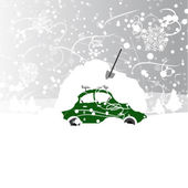 Car with snowbank on roof, winter blizzard — Stock Vector