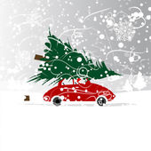 Car with christmas tree, winter blizzard for your design — Stock Vector