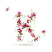 K Lettre floral pour votre conception — Vecteur