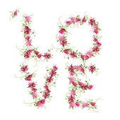 Floral liebe, wort aus blumen für ihr design hergestellt — Stockvektor