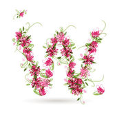 Floral letter W for your design — Stockvektor