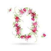 Floral number zero for your design — Stock Vector