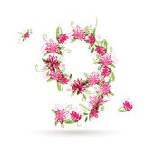 Floral number nine for your design — Cтоковый вектор