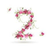 Floral número dos para su diseño — Vector de stock