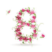 Floral number eight for your design — Vettoriale Stock