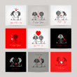 Set of business cards, couple in love together — Stock Vector